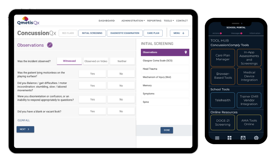 Concussion App Screens